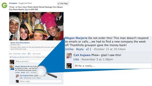 Screenshot from facebook discourage using Queen City photobooth